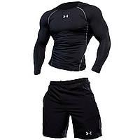 Компрессионная одежда для спортзала. Under Armour комплект 2в1