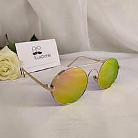 Круглые стильные солнцезащитные очки в металлической оправе с шорами зеркальные