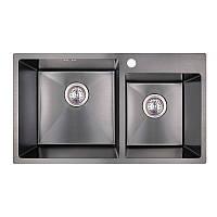 Двойная черная мойка Imperial S7843BL PVD black Handmade 2.7/1.0 mm кухонная