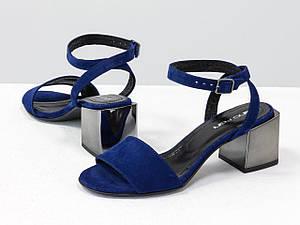 Босоніжки сині на квадратному каблуці з металевим блиском, з ремінцем навколо щиколотки