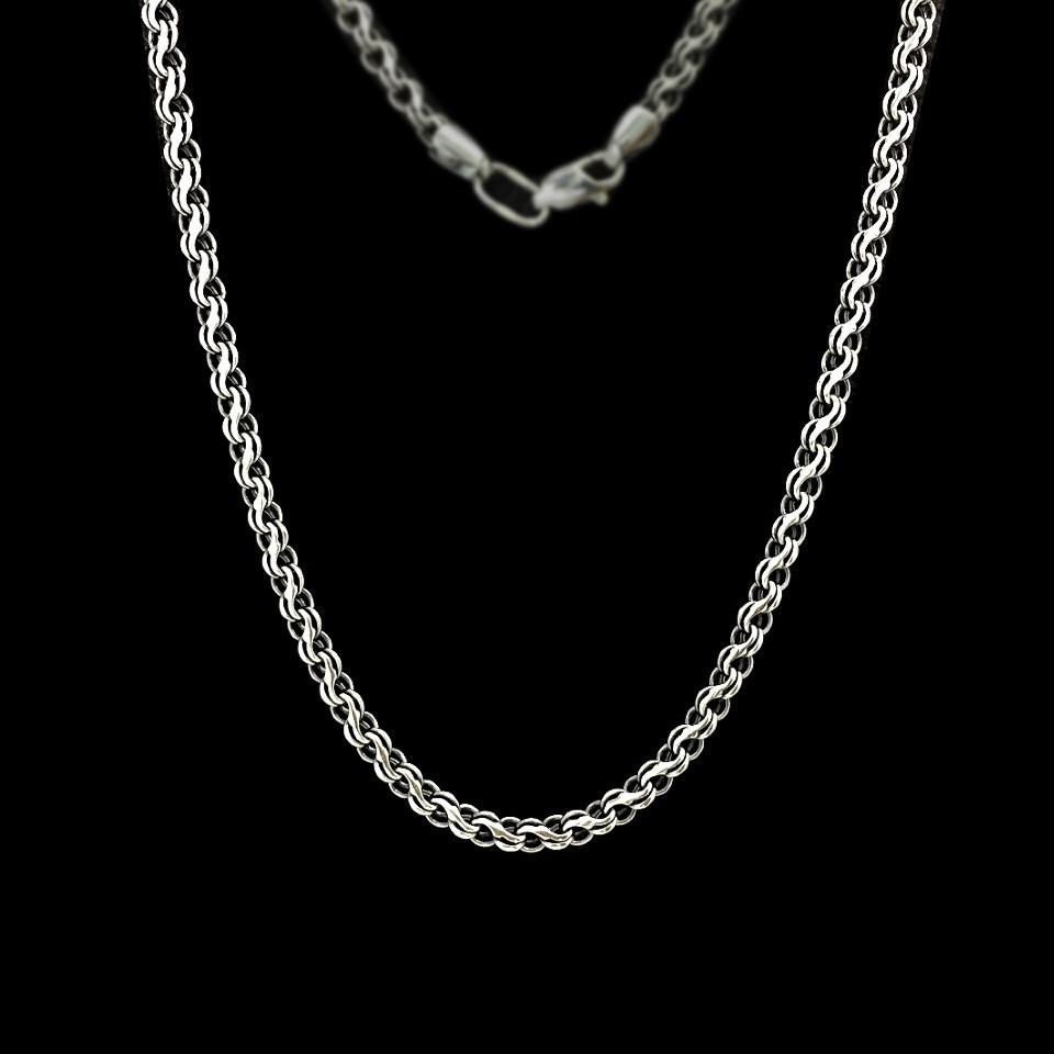 Серебряная цепочка, 500мм, 13 грамм, плетение Ручей, чернение