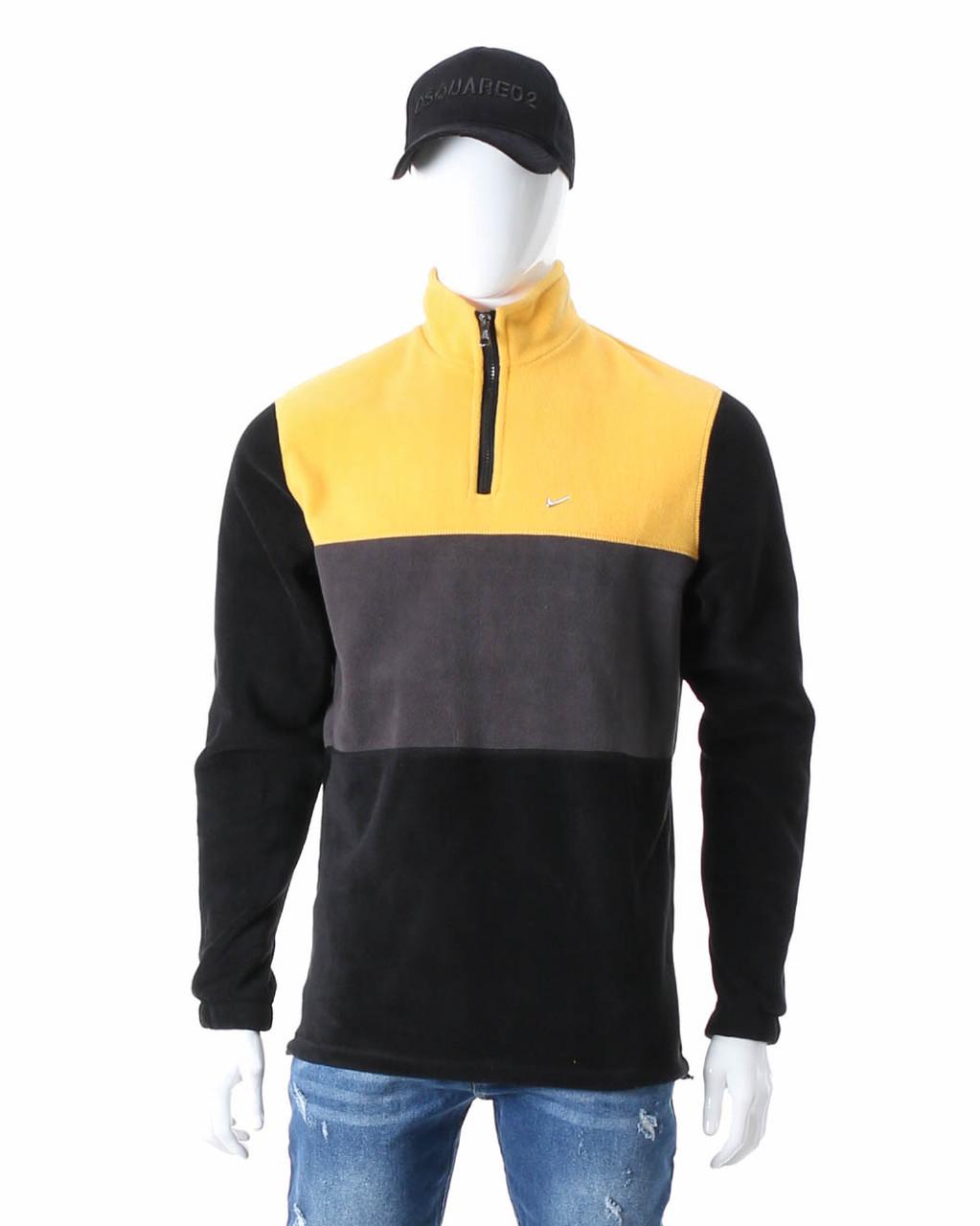 Свитшот осень-зима желтый/т серый/черный NIKE ворот на молнии с патчем №7 YEL S(Р) 20-426-005