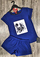 Ярко-синий комплект одежды для отдыха футболка+шорты 609-12  с рисунком.