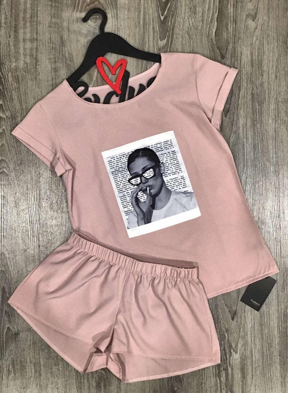 Пудровый комплект  футболка и шорты с рисунком 609-8, пижамы женские.