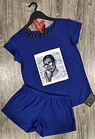 Летний комплект  футболка и шорты с рисунком, пижамы женские.