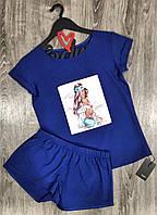 Модные женские пижамы с рисунками, синий комплект футболка и шорты.