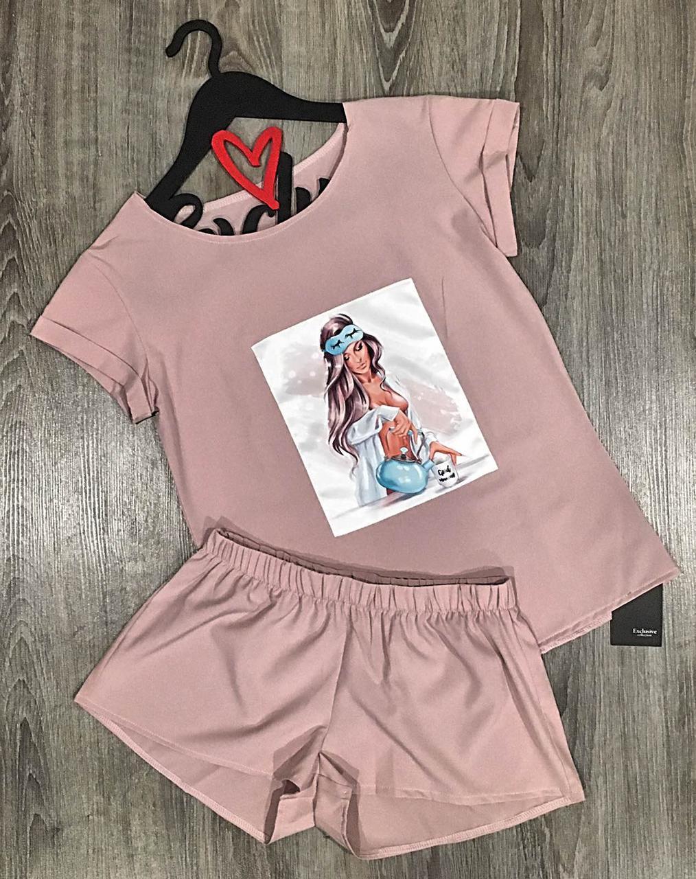 Комплект футболка и шорты. дизайнерские женские пижамы.