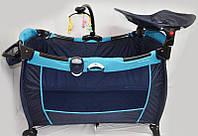 Детская кровать-манеж Sigma F-E-T (синий, оливковый)