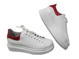 Женские кожаные кроссовки (белый с красным)