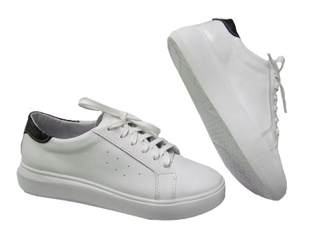 Женские кожаные кроссовки (белый с черным)