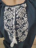 Женское платье с вышивкой темно-синего цвета - размер 60, фото 3
