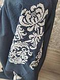 Женское платье с вышивкой темно-синего цвета - размер 60, фото 4