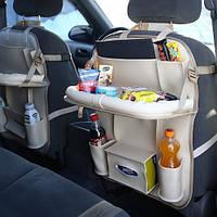 Органайзер со столиком на спинку сиденья в автомобиль Needful Бежевый (OA1sbeige1)