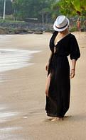 Накидка на купальник пляжная, парео, туника длинная в пол черная