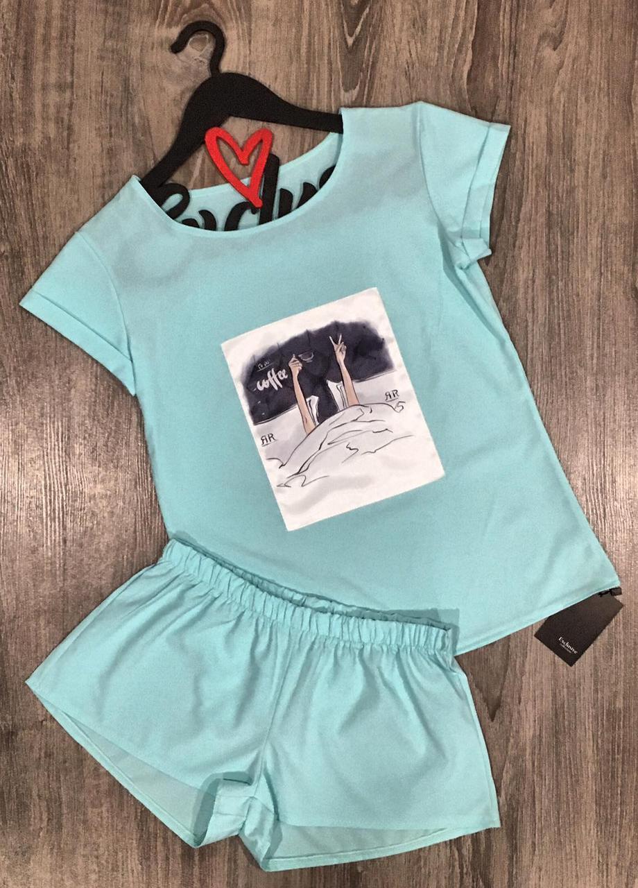 Пижама с рисунком футболка и шорты 609-5 мята.