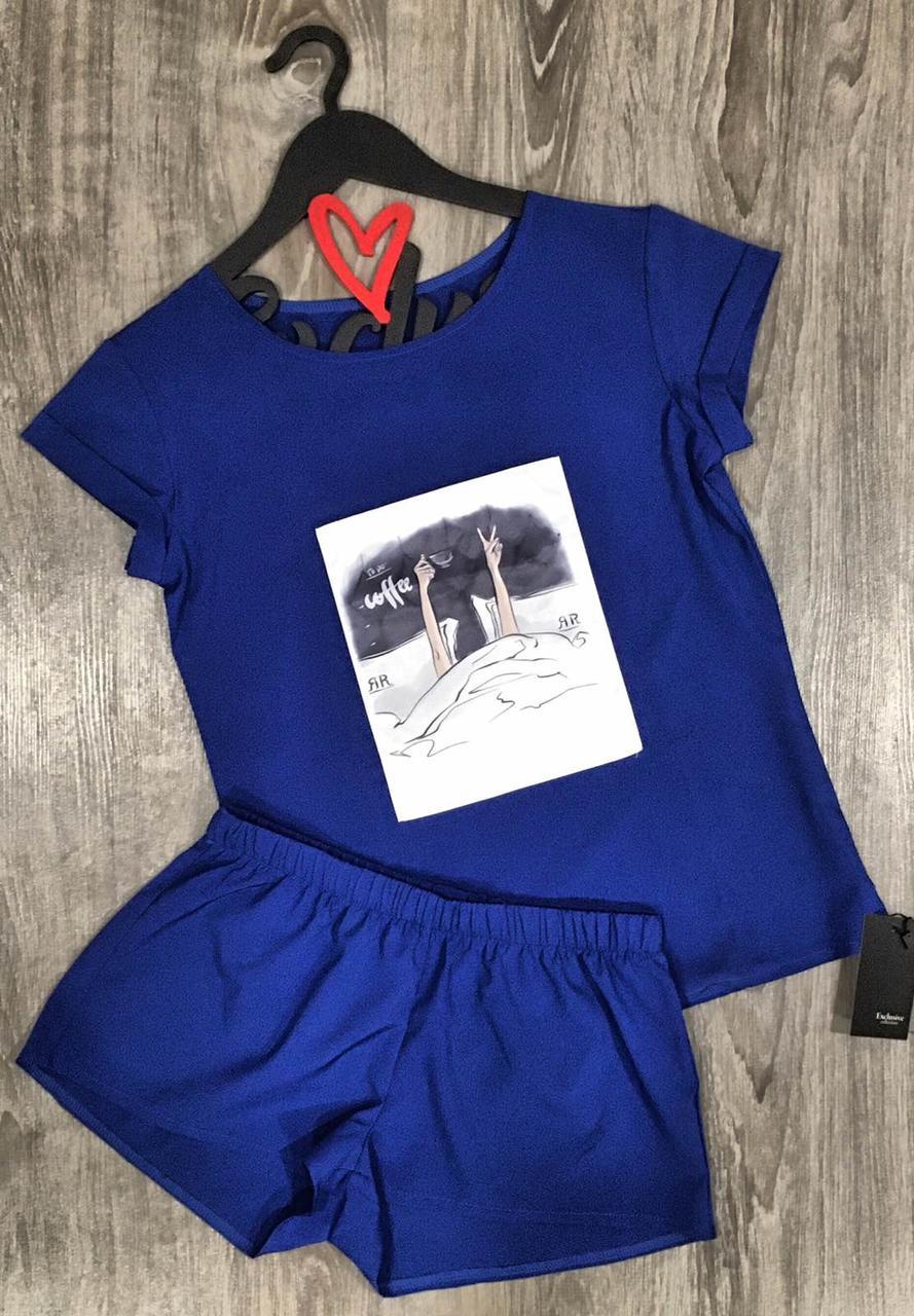 Пижамный комплект с рисунком футболка и шорты 609-5 синий.