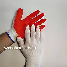 Перчатки рабочие стрейчевые с оранжевым латексным покрытием