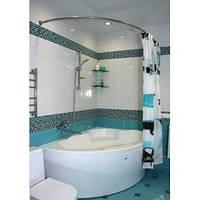 Карниз из нержавеющей стали 160x90 асимметрический, для закругленной ванны Комфорт