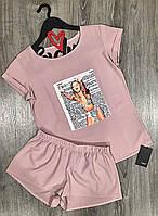 Летние женские пижамы, дизайнерский комплект футболка и шорты.