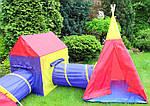 Дитячі ігрові намети, будиночки Ecotoys 5 in 1, з тунелем,вігвам, фото 5