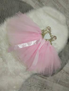 Нарядное детское пишное платье на девочку розовое с пайетками 1-3 года, фото 2