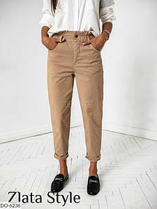 Женские брюки однотонные укороченные. Размер: 42-44, 44-46. Ткань: джинс коттон.
