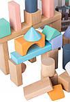 Деревянные блоки Ecotoys 50 шт ведро + сортировщик, фото 2
