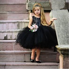 Нарядное детское пишное платье на девочку черное с пайетками 1 год, фото 2