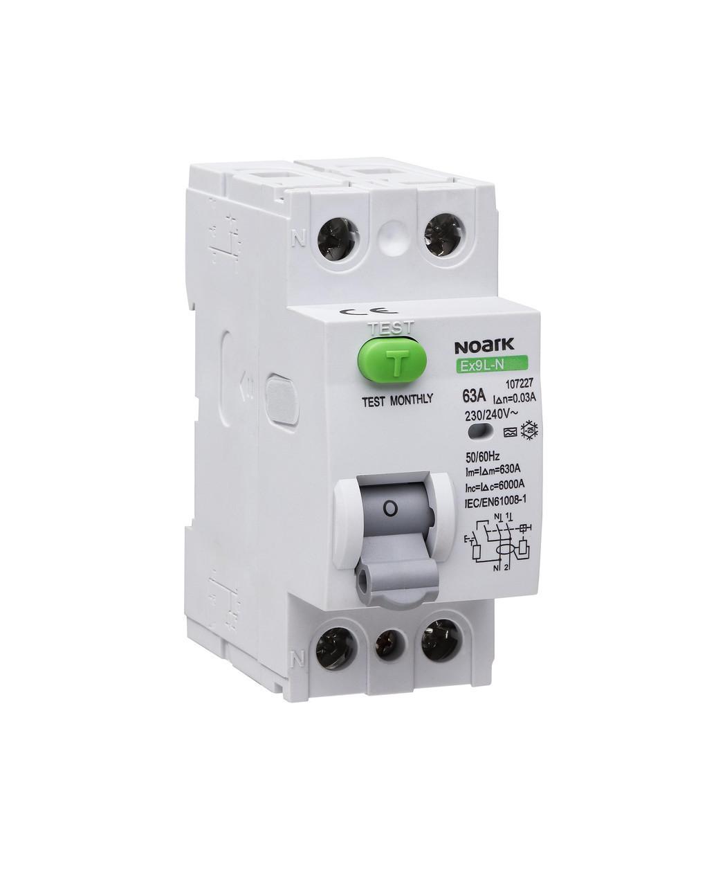 Диференційний вимикач (ПЗВ) Noark 6кА 40А 2P 30mA тип AC Ex9L-N 108315