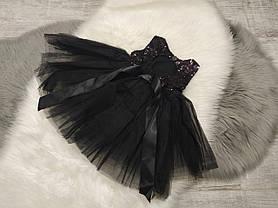 Нарядное детское пишное платье на девочку черное с пайетками 1 год, фото 3
