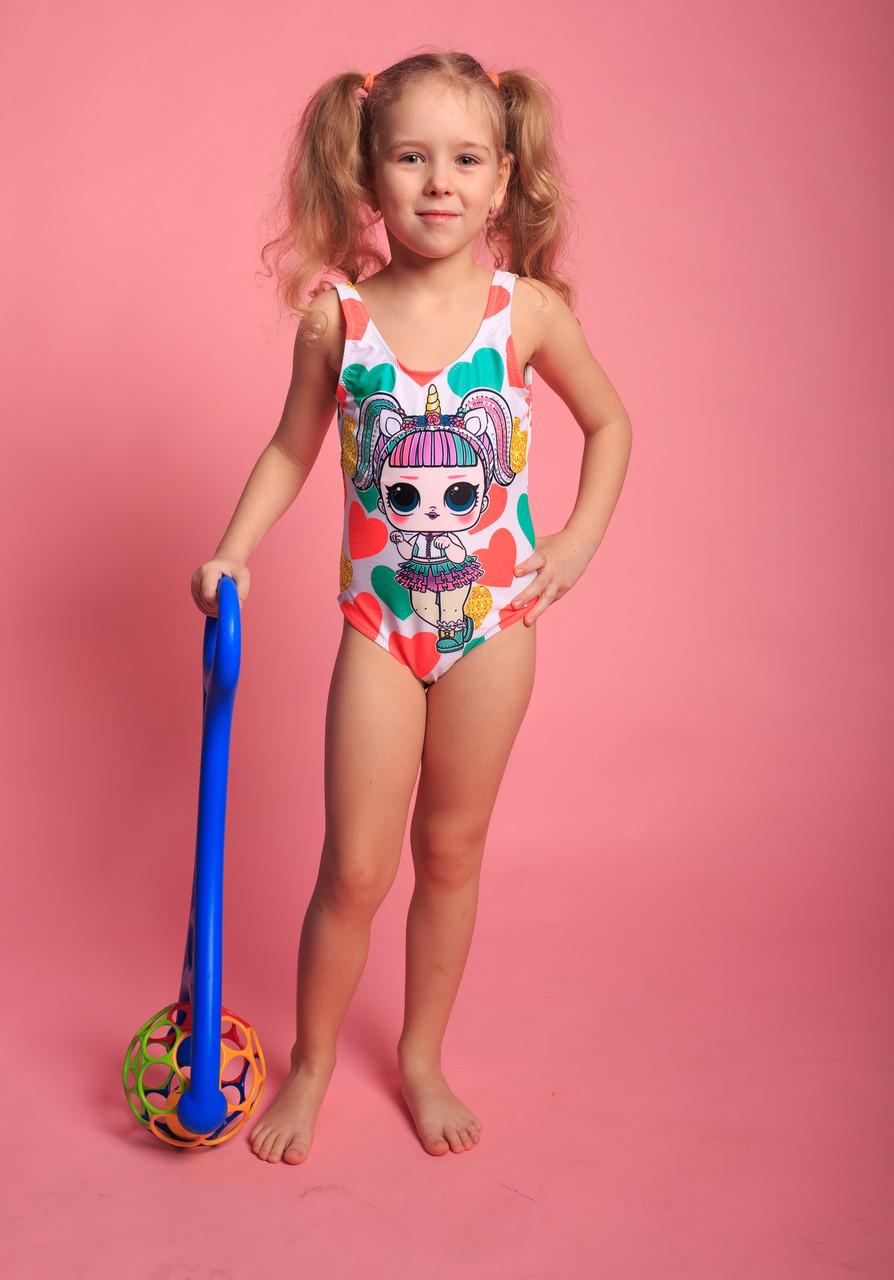 Детский слитный купальник для девочек (арт. 14-85)  28р-36р. с куклой  ЛОЛ