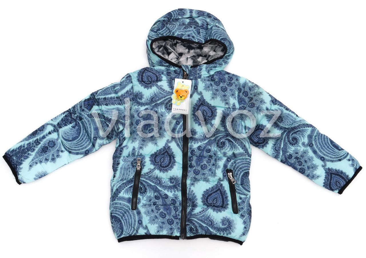 Модная утепленная куртка мята 6-7 лет.