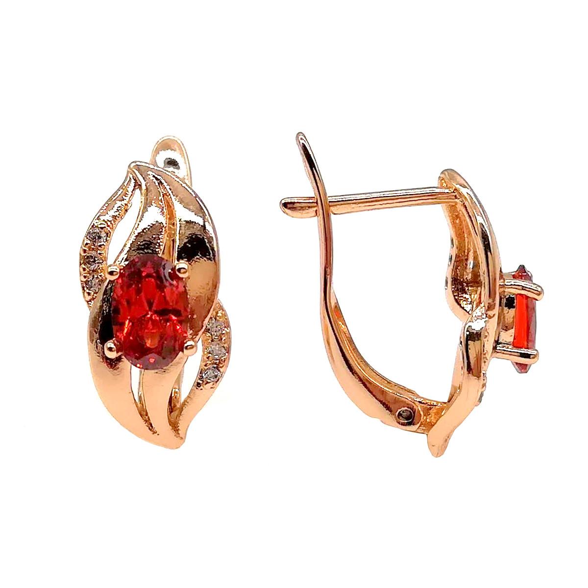 Серьги Хuping из медицинского золота, красные и белые фианиты, позолота 18К, 23685       (1)