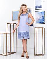 Женское льняное платье с кружевом полубатал размер 48, 50, 52