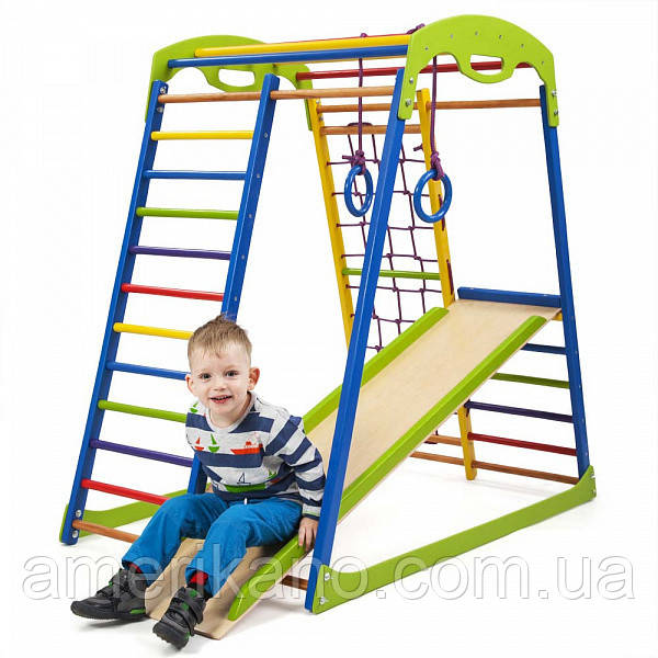 Детский спортивный комплекс для дома SportWood с горкой и кольцами.