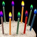 Свечи цветные с разноцветными огнями (уп.12шт.), фото 2