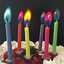 Свечи цветные с разноцветными огнями (уп.12шт.), фото 3