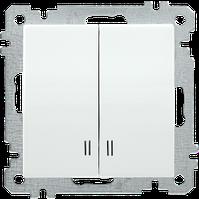 Выключатель с подсветкой двухклавишный серия BOLERO (белый) ВК02-01-0-ББ IEK