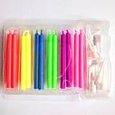 Свечи цветные с разноцветными огнями (уп.12шт.), фото 5