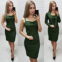 Комплект платье на брительках и  пиджак  , цвет хаки, фото 1