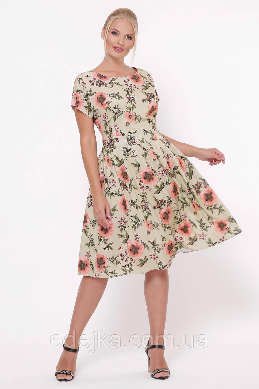 Плаття літнє Лорен беж маки