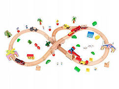 Деревянная железная дорога на батарейки EcoToys HM008999 78 елементов