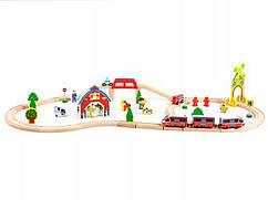 Деревянная железная дорога на батарейки EcoToys HM180995 53 элементов