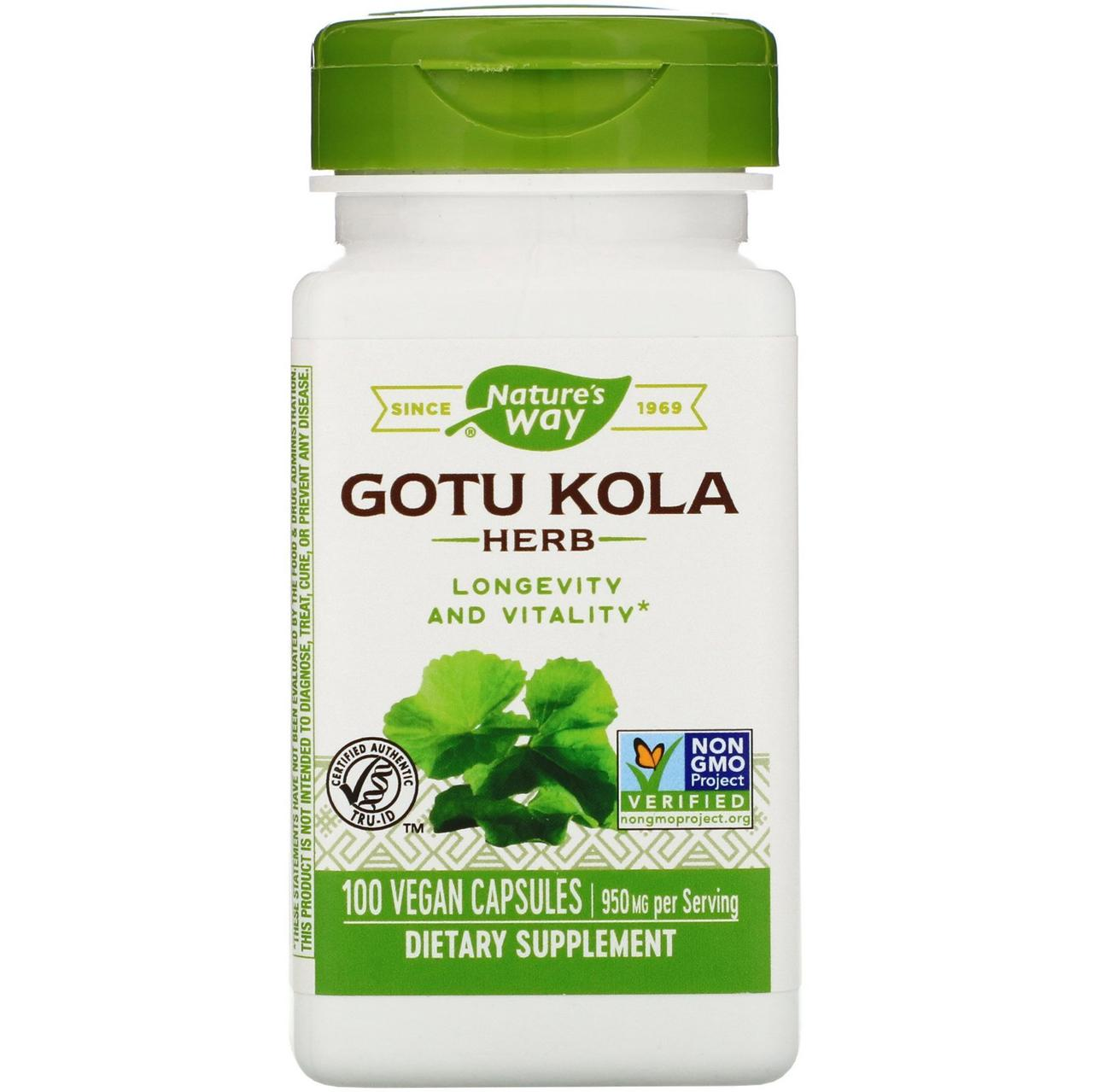 "Центелла азиатская Nature's Way ""Gotu Kola Herb"" 950 мг (100 капсул)"