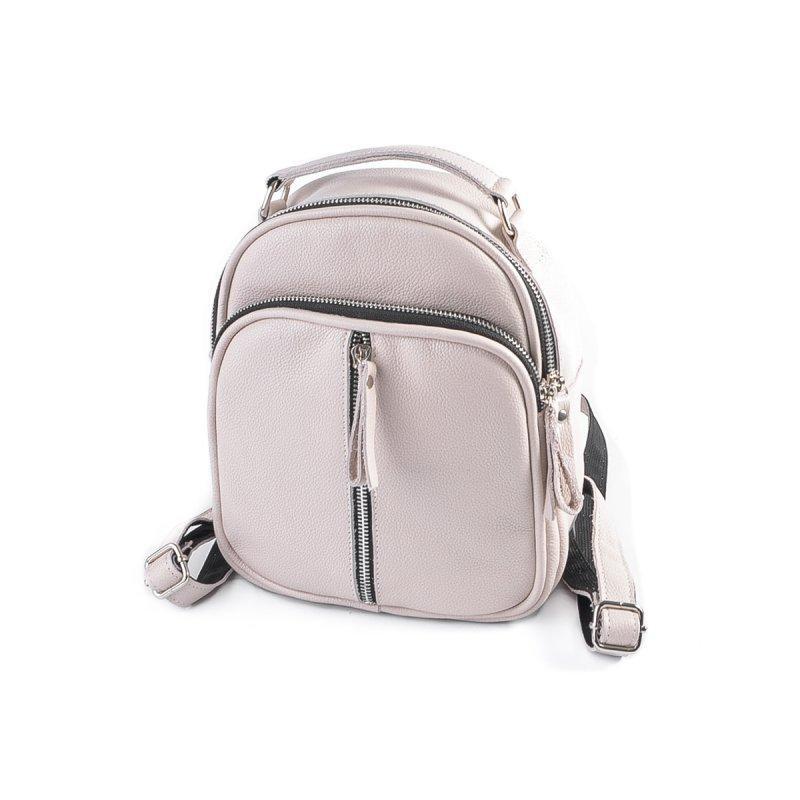 Сумка-рюкзак бежева жіноча шкіряна трансформер через плече з натуральної шкіри М242