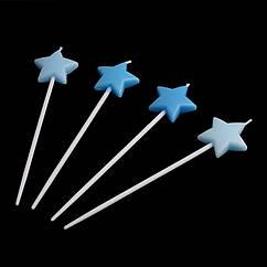 Свечи Звезды (голубые) (уп. 4 шт)