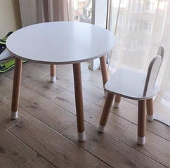 Дитячий дерев'яний набір круглий столик і стільчик. 100% дерево масив бук