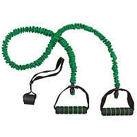 Эспандер трубчатый с ручками в защитном чехле, зеленый, натяжение 30LB.