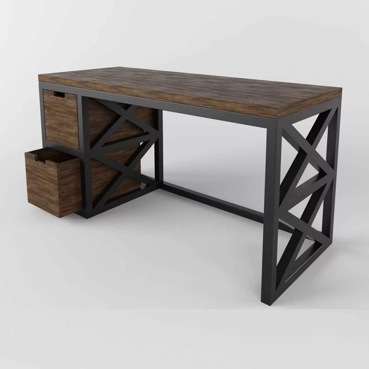 Стол письменный из металла и дерева Loft