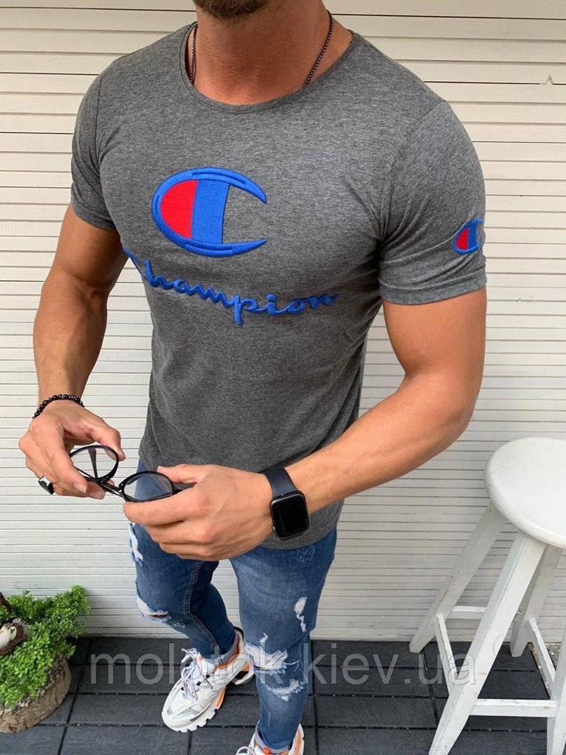 Стильна сіра футболка в стилі Чемпіона